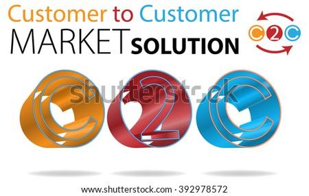 Vector Concept Customer to Customer Market Solution Illustration, Raster Version Available - stock vector
