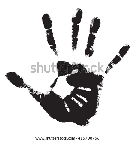 Vector concept cute black paint hand of mother child handprint isolated on white background for art, care, childhood, family, fun, happy, infant, symbol, kid, little, love, mom motherhood young design - stock vector