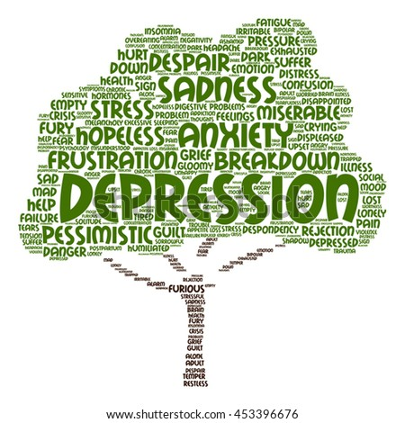 Vector concept depression or mental emotional disorder abstract tree word cloud isolated on background metaphor to anxiety, sadness, negative, sad, problem, despair, unhappy, frustration symptom - stock vector