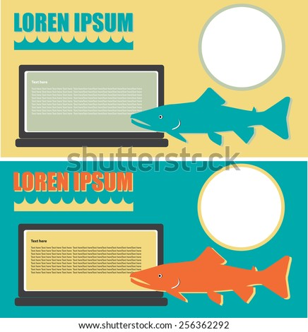 Vector concept design color background fish service or trade marketing - stock vector