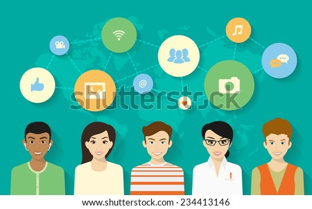 Vector concept design of young people and social networking symbols - stock vector