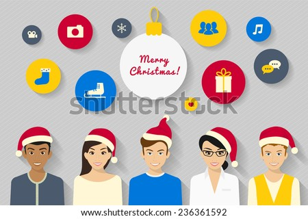 Vector concept design of young people wearing Santas hats and social networking symbols - stock vector