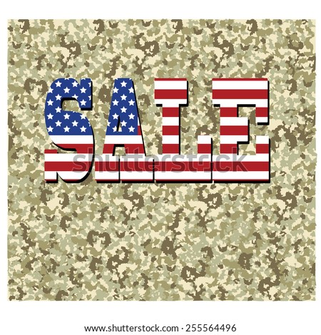 Vector concept design sale in usa flag on camouflage background - stock vector