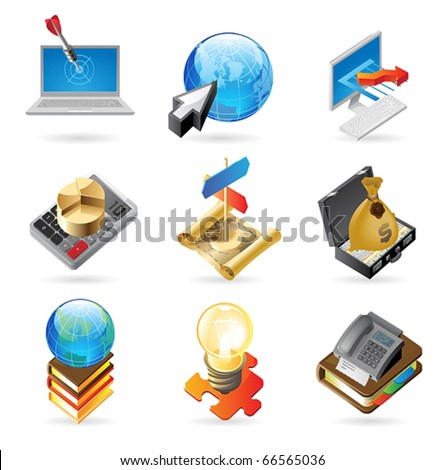Vector concept icons for business. Illustrations for document, article or website. - stock vector