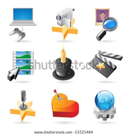 Vector concept icons for media. Illustrations for document, article or website. - stock vector
