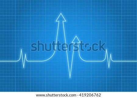 Vector concept illustration of business heart pulse. Light glossy beat line with arrows on the dark blue background. Infographic design element for web, internet, print, presentation, social networks. - stock vector