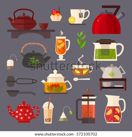 Vector concept illustration of tea party. Tea ceremony with icons isolated on white background.Set of  tea accessories: cup, teapot, tea bag, tea tools, glass in flat style. Tea time vector symbols.  - stock vector