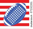 Vector concept illustration with an American football over the United States flag - stock photo