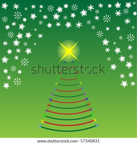 Vector concept image of a christmas tree and snowflakes - stock vector