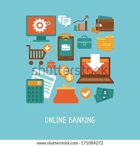 Vector concept in flat style - online banking and business - icons and signs. Internet shopping and ecommerce - stock vector