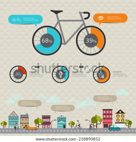 Vector concept modern Design Fitness and sports statistics with bicycle infographics - stock vector