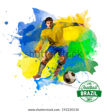Vector concept of BRAZILIAN watercolors and geometrical figures footballer. Creative soccer design with labels for you. Rio 2016. Euro cup