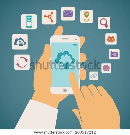 Vector concept of cloud services on mobile phone such as storage, computing, search, photo album, data exchange. With colorful icons or web buttons around mobile device. - stock vector