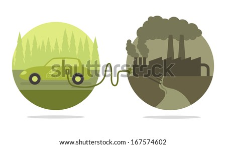 Vector concept of eco car and polluted cities  - stock vector