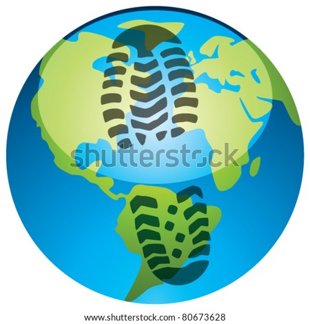 vector concept of global footprint - stock vector