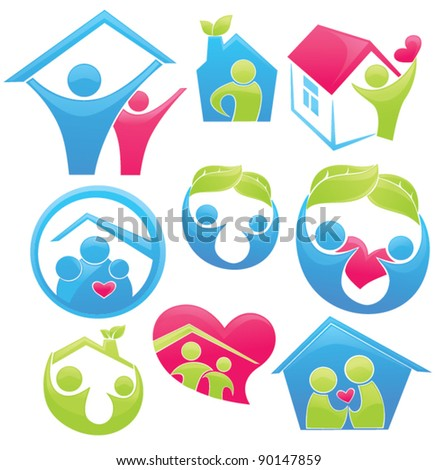 vector concept of happy loving family and home - stock vector