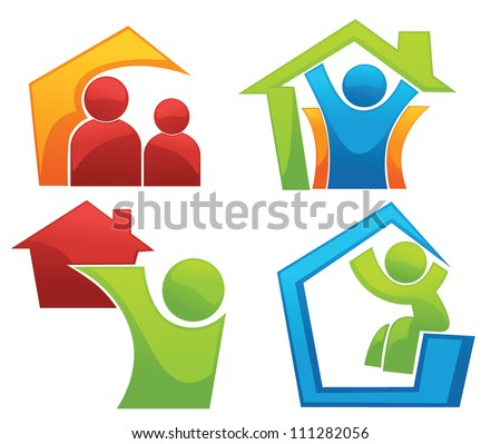vector concept of happy loving home - stock vector