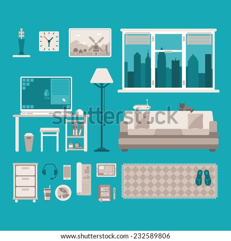 Vector concept of home office interior with table pc window and sofa