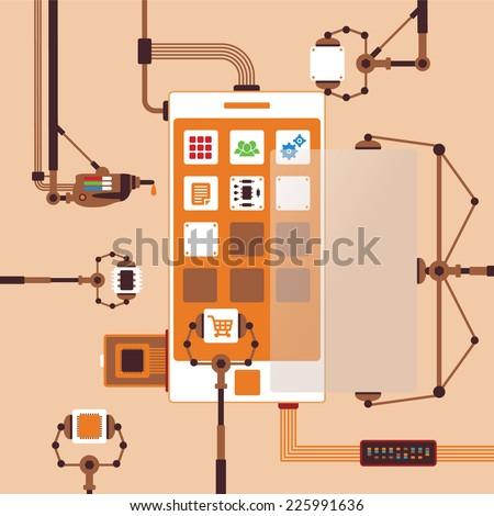Vector concept of mobile software application development process for smart phones - stock vector