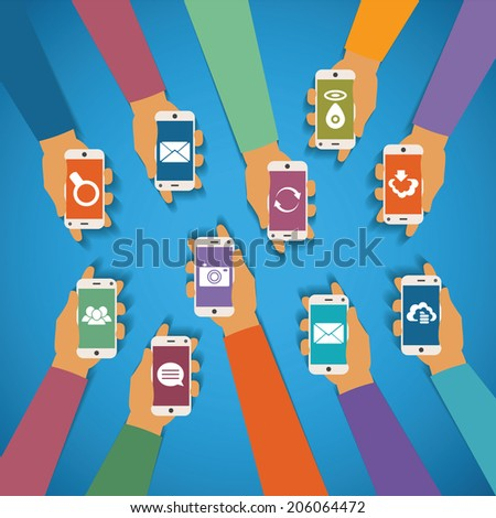 Vector concept of modern mobile wireless technology like message chat cloud storage mail gps photo social network and content search - stock vector