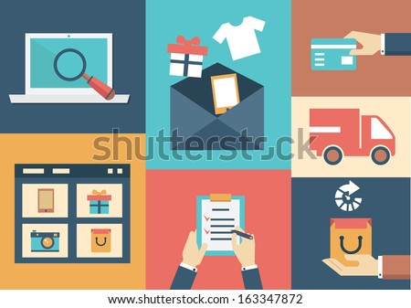 Vector concept of process email marketing. Flat style design - vector illustration - stock vector
