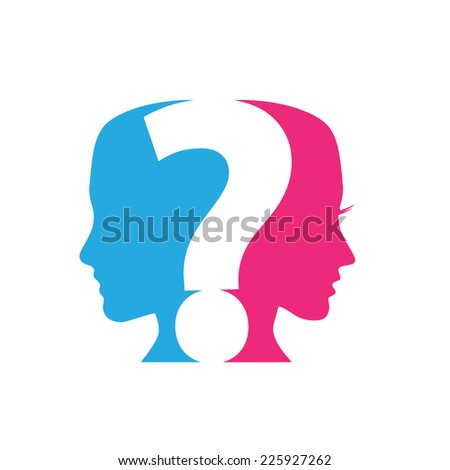 Vector concept of Questions Couples, question mark - stock vector