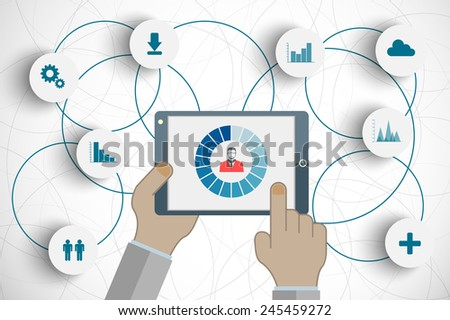Vector concept of searching for professional stuff or technical solutions, human resources management or analysing personnel resume. Eps10 vector for your design - stock vector