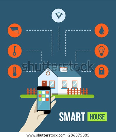 Vector concept smart house smart home stock vector for Smart home technology definition