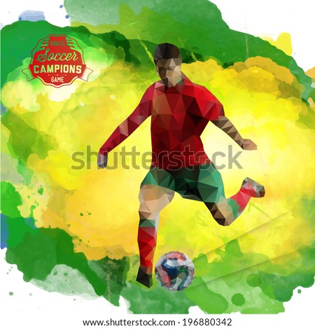 Vector concept of soccer player with watercolor background and geometric figures combination of green and yellow colors.  Creative football design with labels for you. Label separate from background. - stock vector