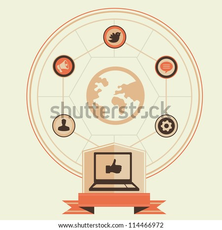 Vector concept of social media and marketing - vintage illustration