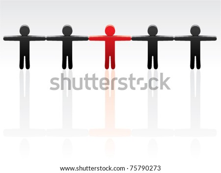 vector concept of standing out from the crowd - stock vector