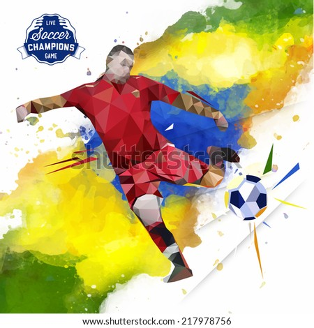 Vector concept of watercolors and geometrical figures footballer. Creative soccer design with labels for you.
