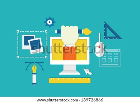 Vector concept of web design and devices for work. Equipment for creation - vector illustration - stock vector