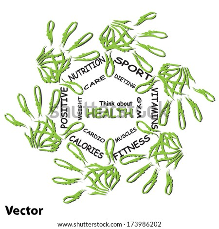 Vector concept or conceptual abstract circle health word cloud, green leaf child hand prints isolated white background, metaphor to medical, diet, sport, shape, silhouette, food, lifestyle or medicine - stock vector