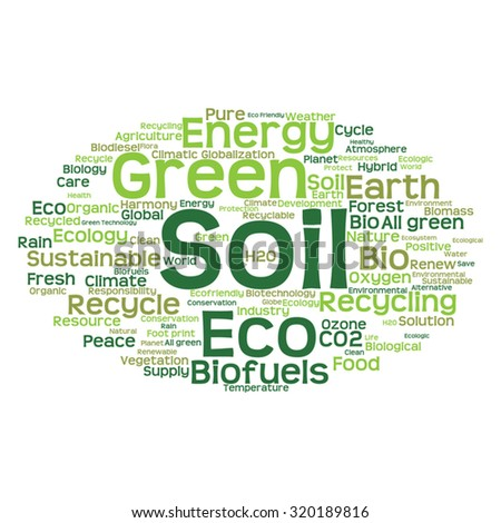 Vector concept or conceptual abstract green ecology and conservation word cloud text on white background, metaphor to environment, recycle, earth, alternative, protection, energy, eco friendly or bio