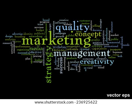 Vector concept or conceptual abstract word cloud on black background as metaphor for business, trend, media, focus, market, value, product, advertising or customer. Also for corporate wordcloud - stock vector