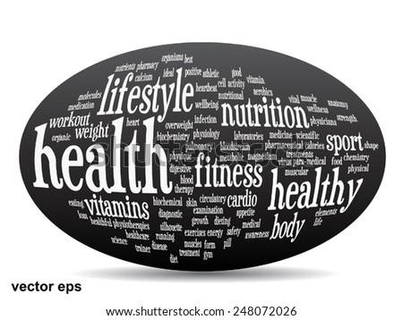 Vector concept or conceptual abstract word cloud on black background as metaphor for health, nutrition, diet, wellness, body, energy, medical, fitness, medical, gym, medicine, sport, heart or science - stock vector