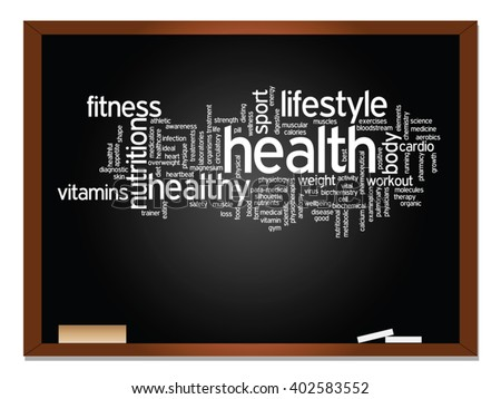Vector concept or conceptual abstract word cloud on blackboard background, metaphor to health, nutrition, diet, wellness, body, energy, medical, fitness, medical, gym, medicine, sport, heart science - stock vector