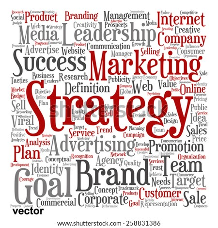 Vector concept or conceptual abstract word cloud on white background as metaphor for business, trend, media, focus, market, value, product, advertising or customer. Also for corporate wordcloud - stock vector