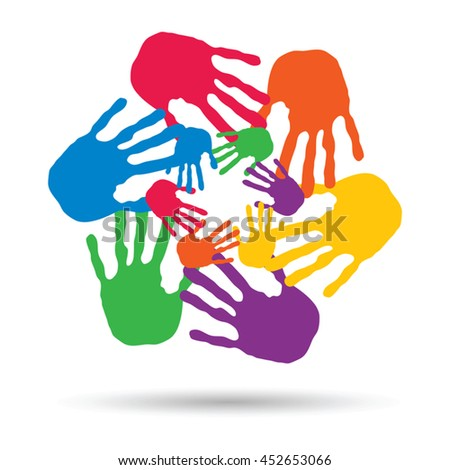 Vector concept or conceptual circle spiral of colorful hand prints made by children isolated on white background for paint, handprint, symbol, people, identity, together, friendship, play, fun designs - stock vector