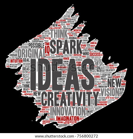 Vector concept or conceptual creative idea brainstorming paint brush paper word cloud isolated background. Collage of spark creativity original, innovation vision, think, achievement or smart genius