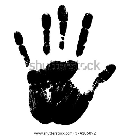 Vector concept or conceptual cute paint human hand or handprint of child isolated on white background for art, childhood, fun, happy, infant, symbol, kid, identity, education, school, little or young - stock vector