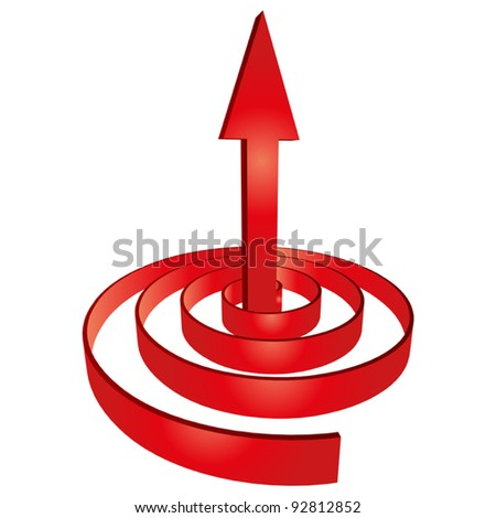 Vector concept or conceptual 3D red abstract arrow pointing up in a spiral as a metaphor for business,success,growth, progress,profit,investment,grow,goal or designs, isolated on white background - stock vector
