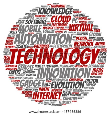 Vector concept or conceptual digital smart technology circle word cloud isolated on background  metaphor to information, innovation, internet, future, development, research, evolution or intelligence