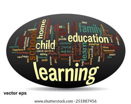 Vector concept or conceptual education abstract word cloud, black background, metaphor to child, family, school, life, learn, knowledge, home, study, teach, educational, achievement, childhood or teen