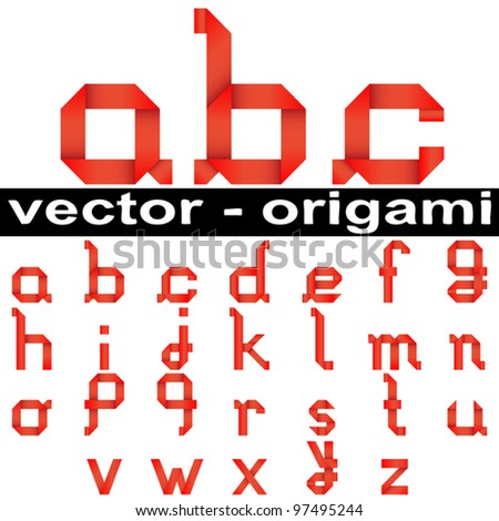 Vector concept or conceptual group,set or collection of red paper origami font isolated on white background,for art,decorative,decoration,school,education,children,craft,hand,ribbon,oriental or design - stock vector