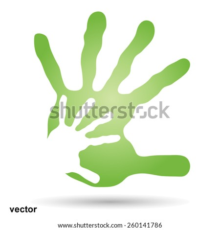 Vector concept or conceptual human or mother and child hand prints painted, isolated on background  for art, care, childhood, family, fun, happy, infant, symbol, kid, love, mom, motherhood or young - stock vector