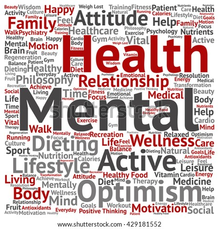 Vector concept or conceptual mental health or positive thinking square word cloud isolated on background, metaphor to optimism, psychology, mind, healthcare, thinking, attitude, balnce or motivation - stock vector