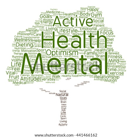 Vector concept or conceptual mental health or positive thinking tree word cloud isolated on background, metaphor to optimism, psychology, mind, healthcare, thinking, attitude, balance or motivation - stock vector