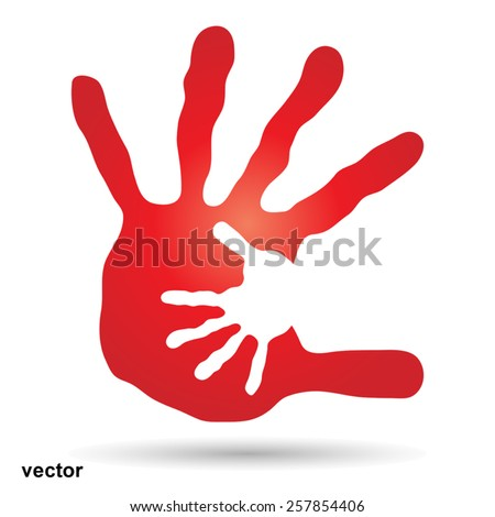 Vector concept or conceptual red drawing paint hands of mother and child isolated on white for art, care, childhood, family, fun, happy, infant, symbol, kid, little, love, mom, motherhood or young - stock vector